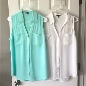 Set of 2 Express Sleeveless Button Up Blouses